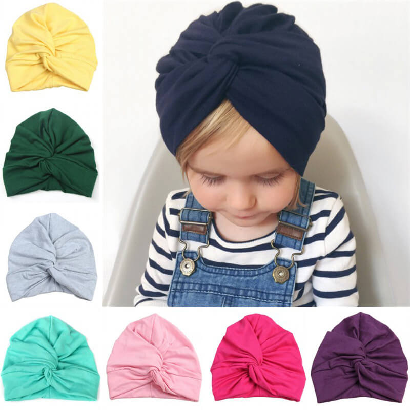 Baby's Cotton Hat with Turban Knot